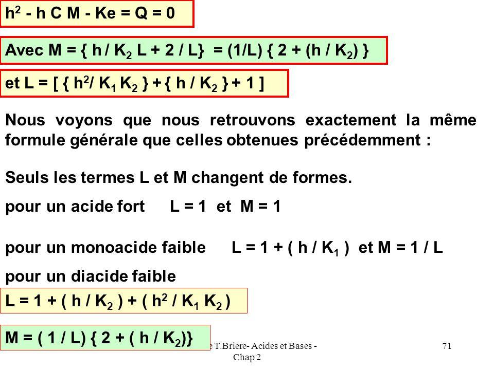 Cours de T.Briere- Acides et Bases - Chap 2 70 E.N : [HX - ] + 2 [X 2- ] + [OH - ] = [H 3 O + ] [X 2- ] = C / L [ HX - ] = [X 2- ] h / K 2 = C h / K 2