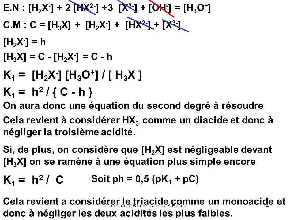 Cours de T.Briere- Acides et Bases - Chap 2 73 Diagramme de prédominance des espèces pK 1 pK 2 pK 3 H3XH3XH2X-H2X- HX 2- X 3- [H 3 X] = [H 2 X - ][H 2