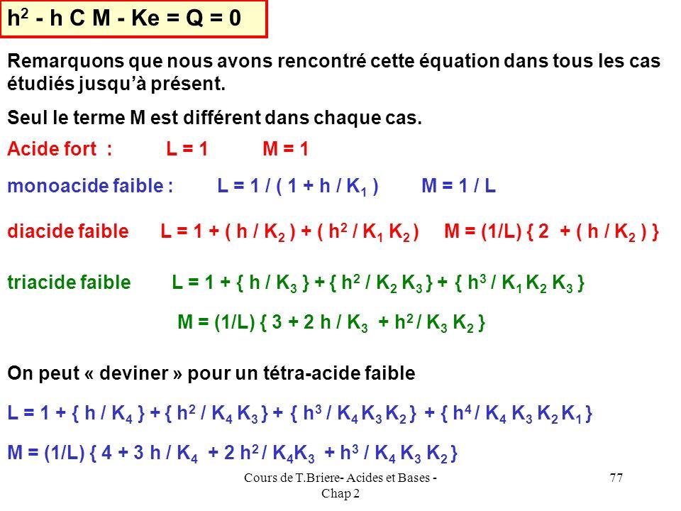 Cours de T.Briere- Acides et Bases - Chap 2 76 E.N : [H 2 X - ] + 2 [HX 2- ] + 3 [X 3- ] + [OH - ] = [H 3 O + ] [X 3- ] = C / L [ HX 2- ] = [X 3- ] h