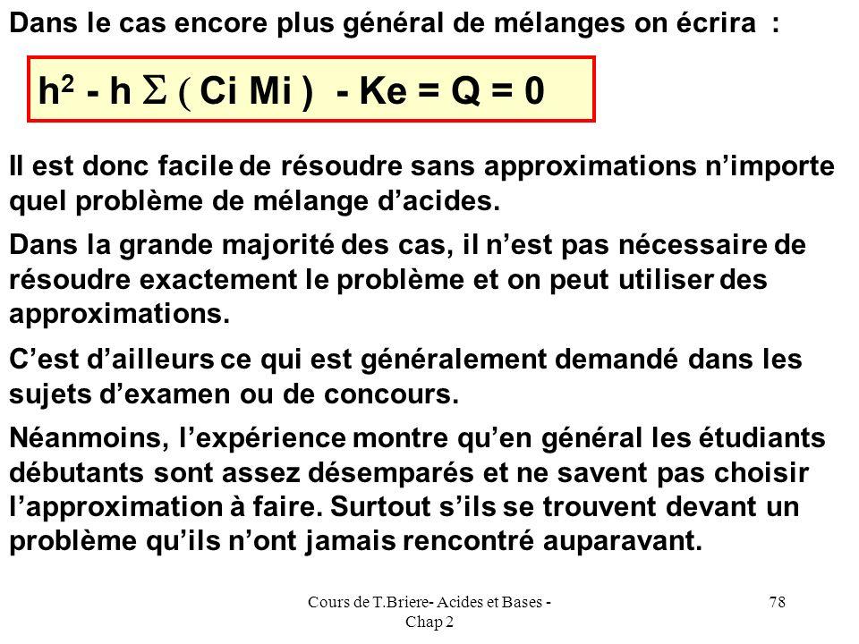 Cours de T.Briere- Acides et Bases - Chap 2 77 h 2 - h C M - Ke = Q = 0 Remarquons que nous avons rencontré cette équation dans tous les cas étudiés j
