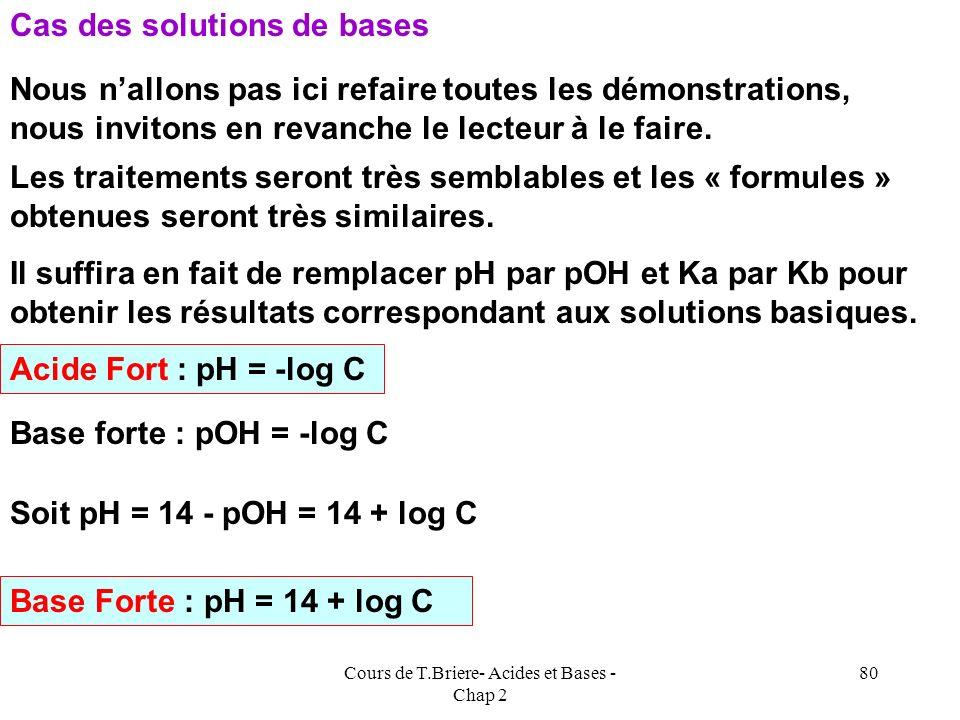 Cours de T.Briere- Acides et Bases - Chap 2 79 Dautre part, si on fait une approximation il faut toujours vérifier après coup sa légitimité ce qui all