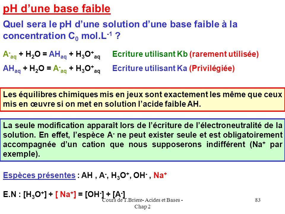 Cours de T.Briere- Acides et Bases - Chap 2 82 Mélange dacides forts : Se comporte comme un seul acide fort Mélange de bases fortes : Se comporte comm