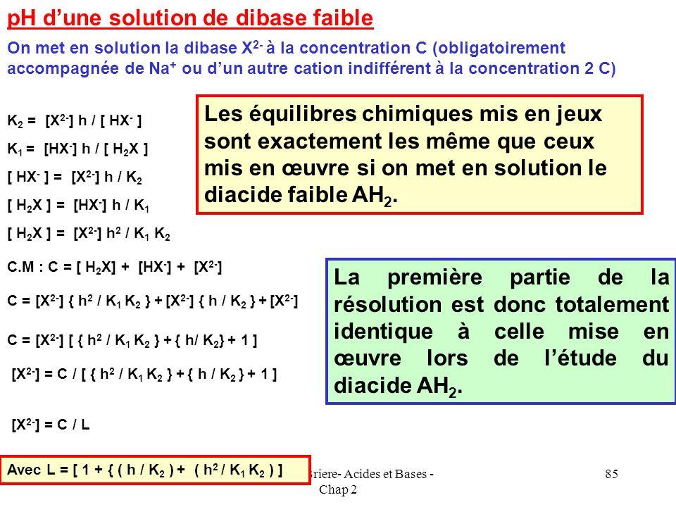 Cours de T.Briere- Acides et Bases - Chap 2 84 E.N : [H 3 O + ] + C = [OH - ] + [A - ] Ka = [A - ] [H 3 O + ] / [ AH ] C.M : [AH] + [A - ] = C 0 [ AH