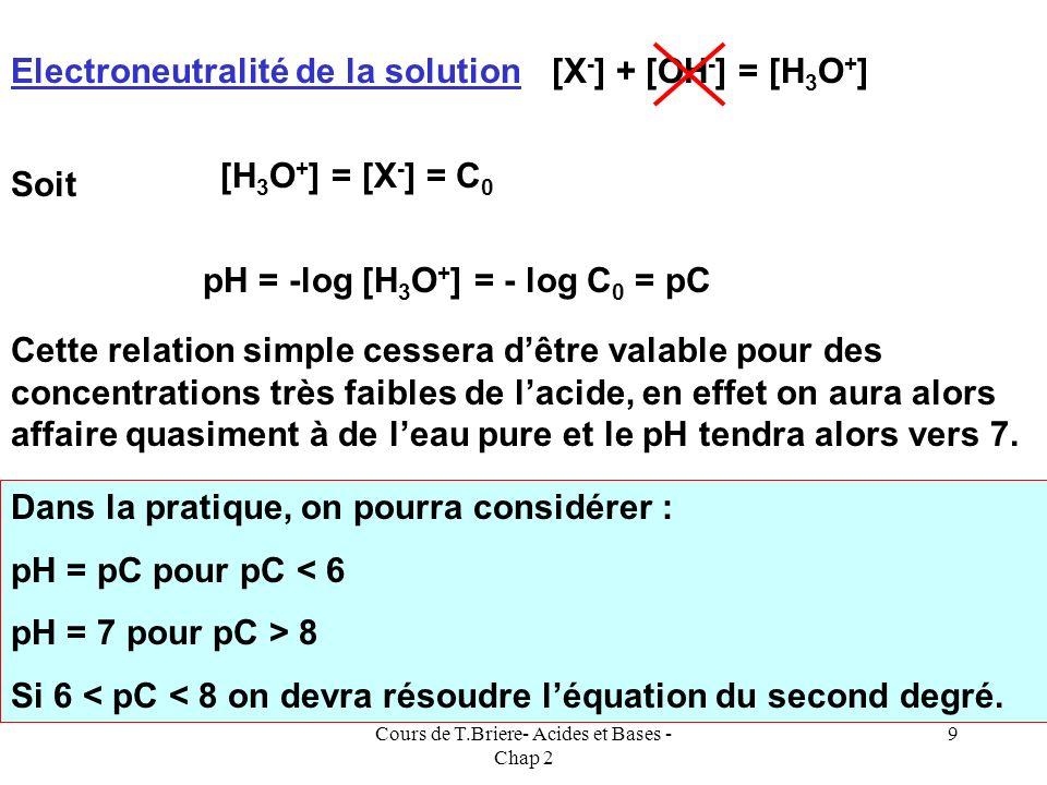 Cours de T.Briere- Acides et Bases - Chap 2 8 On voit donc quil existe une relation simple pH = pC valable pour pC < 6. On peut retrouver facilement c