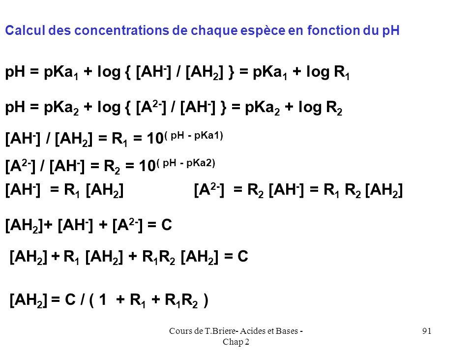 Cours de T.Briere- Acides et Bases - Chap 2 90 pKa1 + pKa2 A 2- négligeableAH 2 négligeable pKa 1 pKa 2 pH AH 2 prédomineA 2- prédomine AH - prédomine