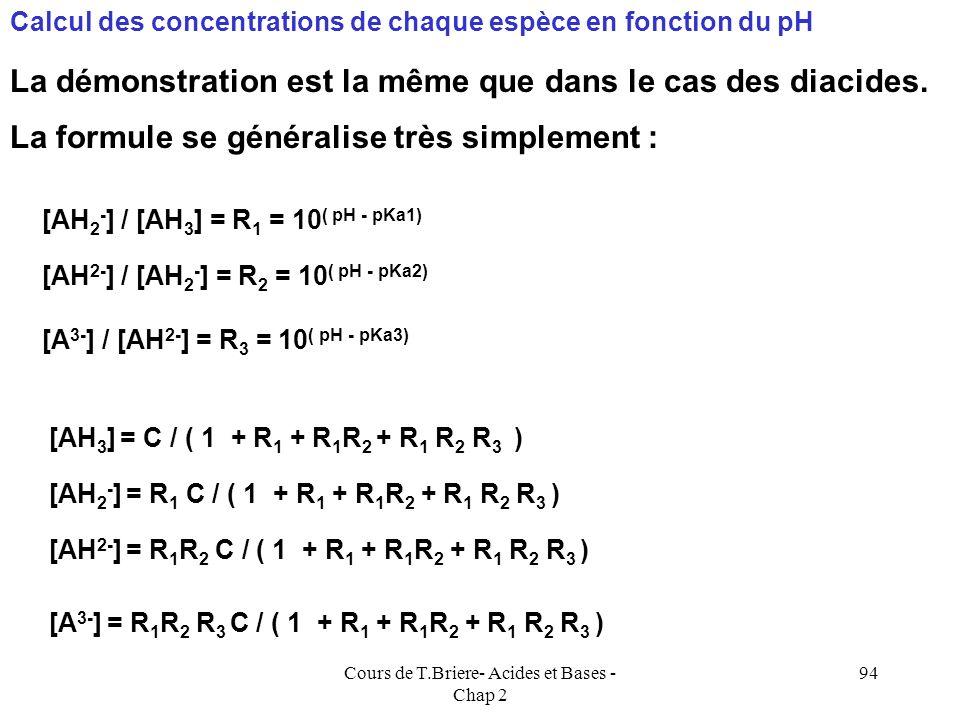 Cours de T.Briere- Acides et Bases - Chap 2 93 Ampholytes de triacides ou de tribases AH 3 + H 2 O = AH 2 - + H 3 O + AH 2 - + H 2 O = AH 2- + H 3 O +