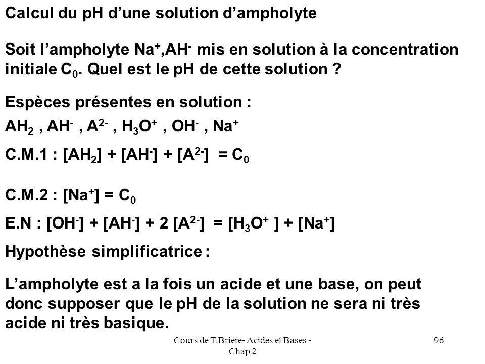 Cours de T.Briere- Acides et Bases - Chap 2 95 %AH 3 99 91 50 9 1 0 0 0 0 0 0 %AH 2 - 1 9 50 90 50 9 1 0 0 0 %AH 2- 0 0 0 1 9 50 90 50 9 1 pH 2 3 4 5