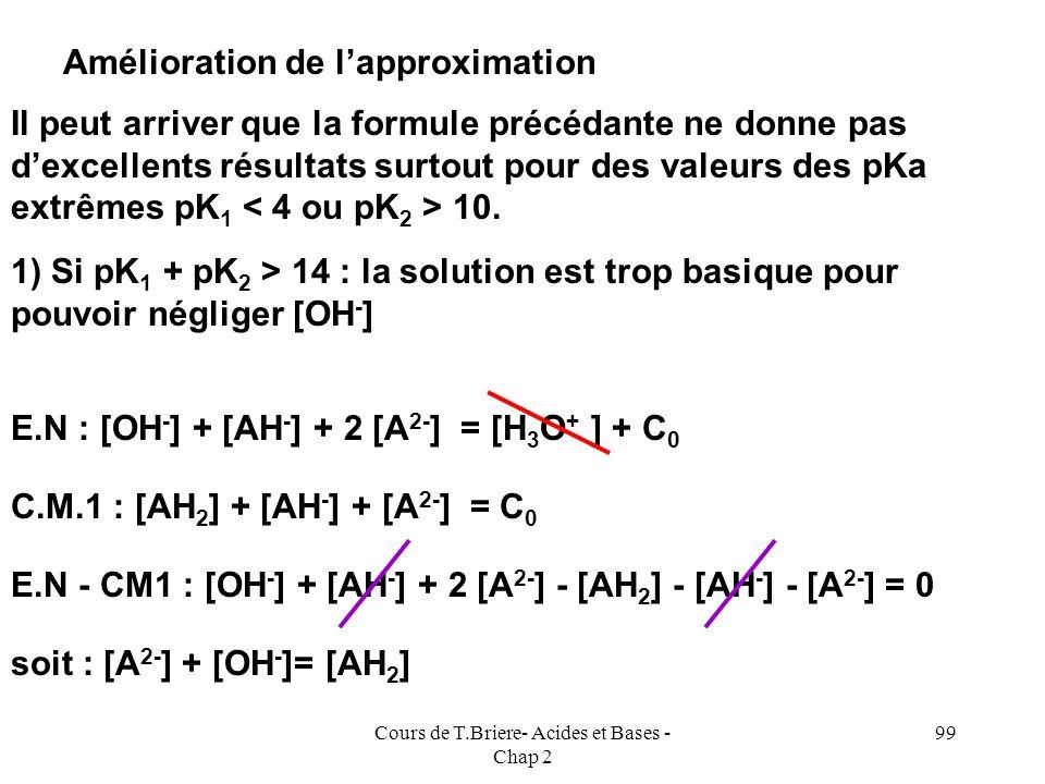 Cours de T.Briere- Acides et Bases - Chap 2 98 2 pH = pKa 1 + log { [AH - ] / [AH 2 ] } + pKa 2 + log { [A 2- ] / [AH - ] } 2 pH = pKa 1 + pKa 2 + log