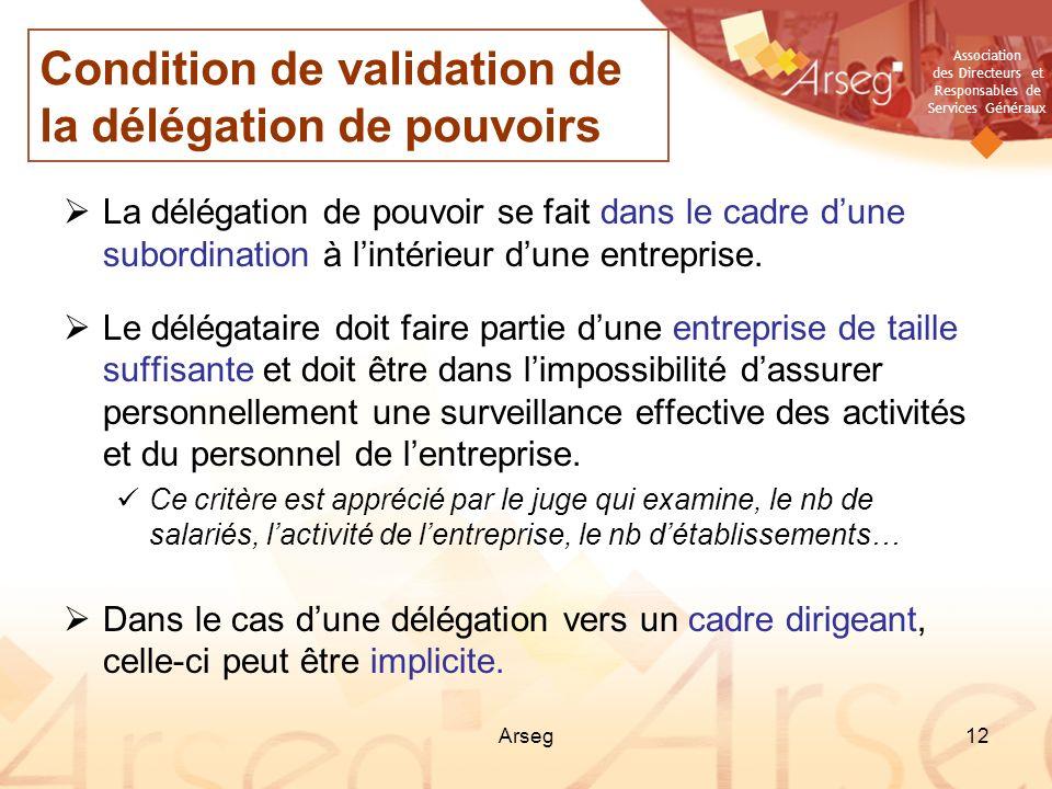 Association des Directeurs et Responsables de Services Généraux Arseg12 La délégation de pouvoir se fait dans le cadre dune subordination à lintérieur