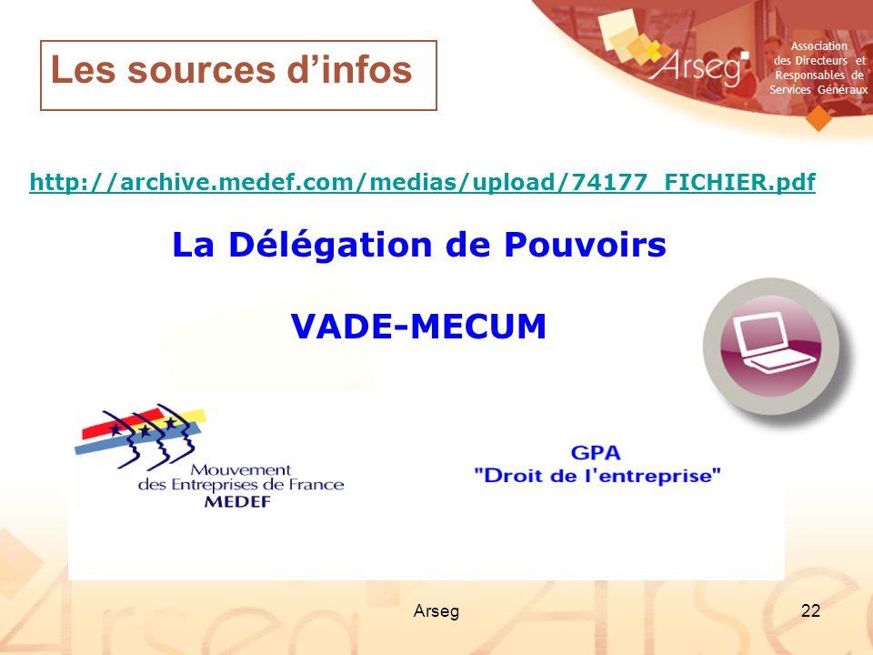 Association des Directeurs et Responsables de Services Généraux Arseg22 http://archive.medef.com/medias/upload/74177_FICHIER.pdf La Délégation de Pouv