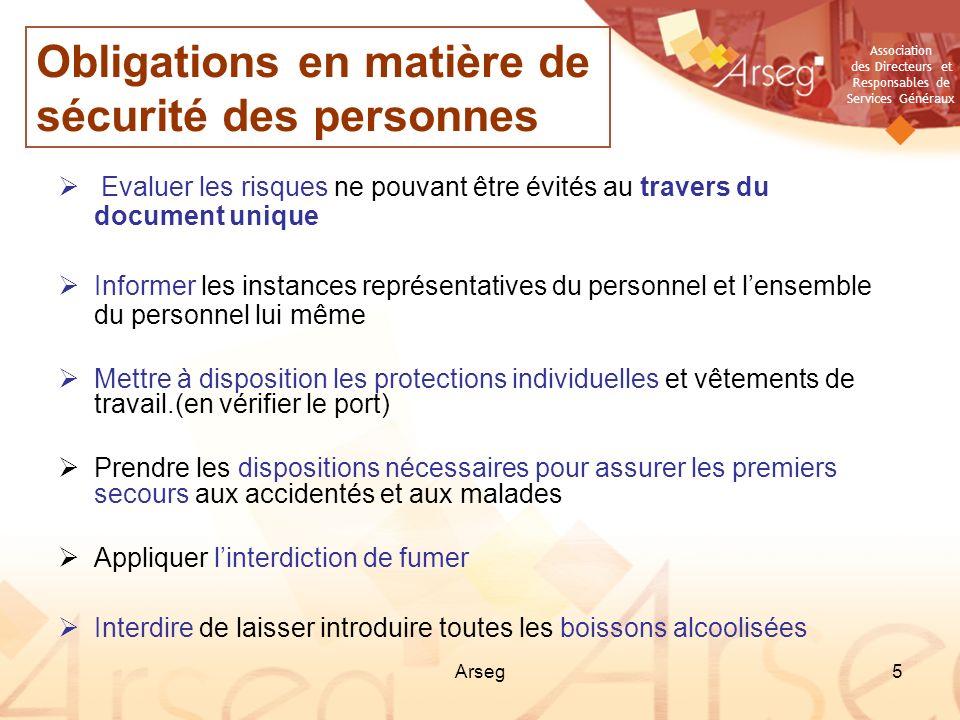 Association des Directeurs et Responsables de Services Généraux Arseg5 Evaluer les risques ne pouvant être évités au travers du document unique Inform