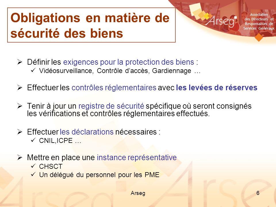 Association des Directeurs et Responsables de Services Généraux Arseg6 Définir les exigences pour la protection des biens : Vidéosurveillance, Contrôl