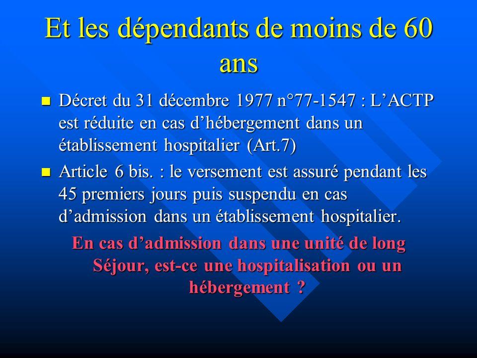 Et les dépendants de moins de 60 ans Décret du 31 décembre 1977 n°77-1547 : LACTP est réduite en cas dhébergement dans un établissement hospitalier (Art.7) Décret du 31 décembre 1977 n°77-1547 : LACTP est réduite en cas dhébergement dans un établissement hospitalier (Art.7) Article 6 bis.