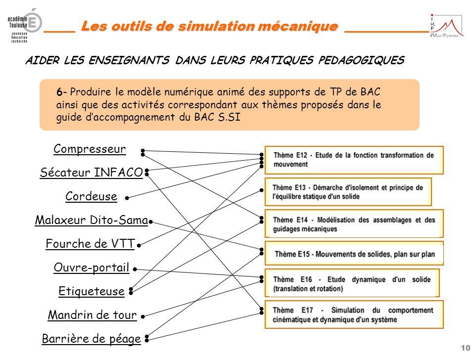 9 Les outils de simulation mécanique AIDER LES ENSEIGNANTS A SAPPROPRIER LOUTIL 4- Produire des fiches daide « élèves » communes à toute lacadémie (Je