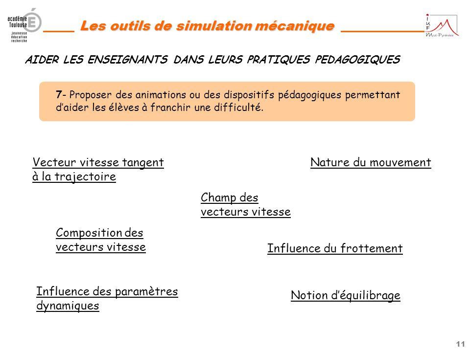 10 Les outils de simulation mécanique 6- Produire le modèle numérique animé des supports de TP de BAC ainsi que des activités correspondant aux thèmes