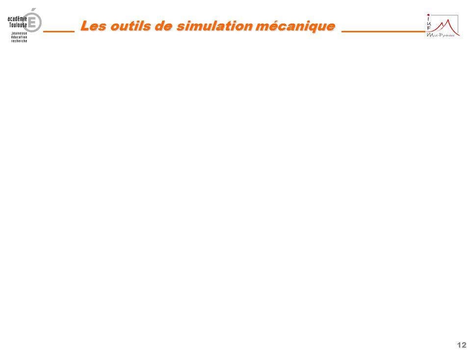 11 Les outils de simulation mécanique AIDER LES ENSEIGNANTS DANS LEURS PRATIQUES PEDAGOGIQUES 7- Proposer des animations ou des dispositifs pédagogiqu