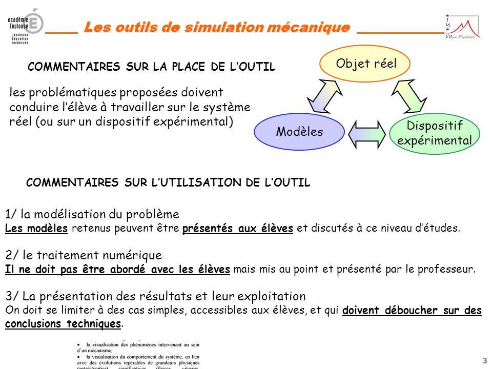 2 Les outils de simulation mécanique Les sujets de BAC STI de ces dernières années intègrent en effet les nouvelles compétences liées à linterprétatio