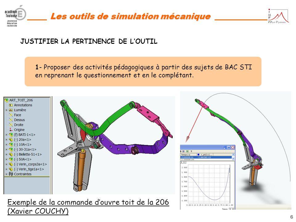 5 Les outils de simulation mécanique 1- Proposer des activités pédagogiques à partir des sujets de BAC STI en reprenant le questionnement et en le com