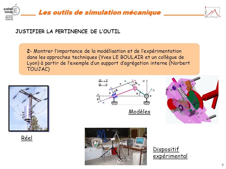 6 Les outils de simulation mécanique 1- Proposer des activités pédagogiques à partir des sujets de BAC STI en reprenant le questionnement et en le com
