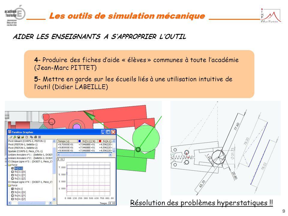 8 Les outils de simulation mécanique JUSTIFIER LA PERTINENCE DE LOUTIL 3- Montrer lémergence de nouvelles compétences liées aux outils de simulation m