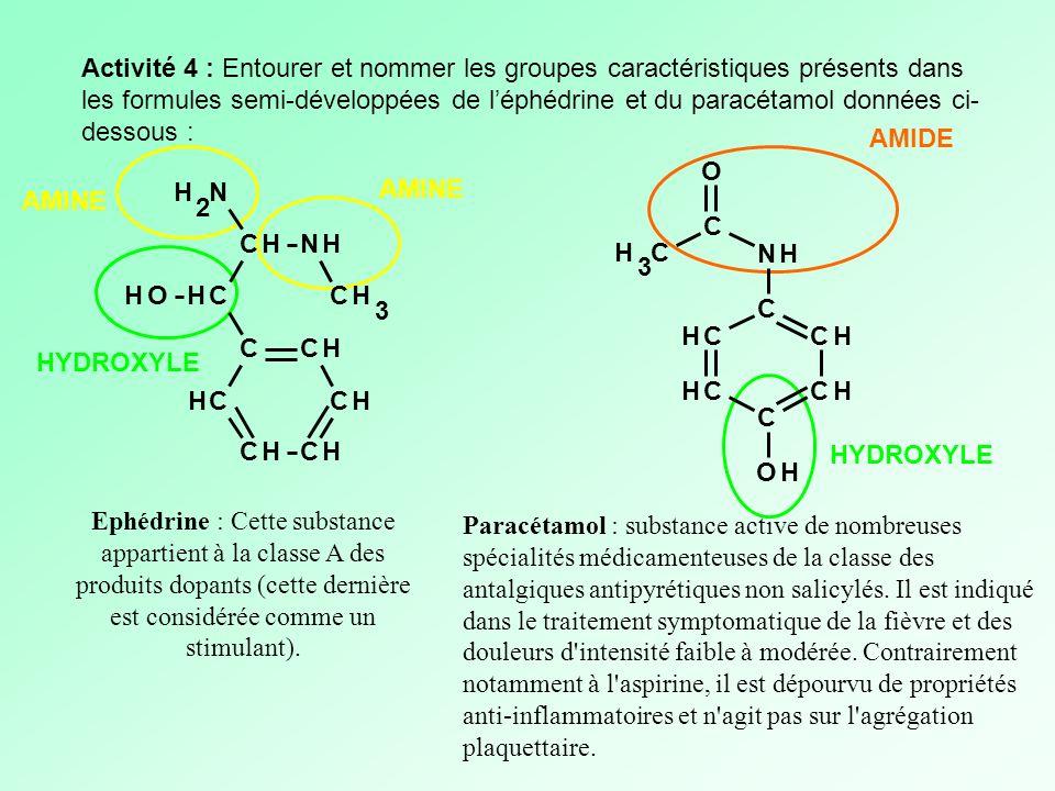 Activité 4 : Entourer et nommer les groupes caractéristiques présents dans les formules semi-développées de léphédrine et du paracétamol données ci- d