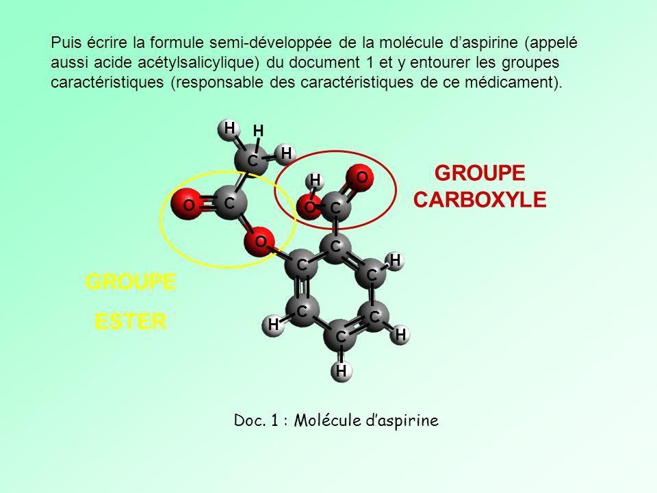 Puis écrire la formule semi-développée de la molécule daspirine (appelé aussi acide acétylsalicylique) du document 1 et y entourer les groupes caracté