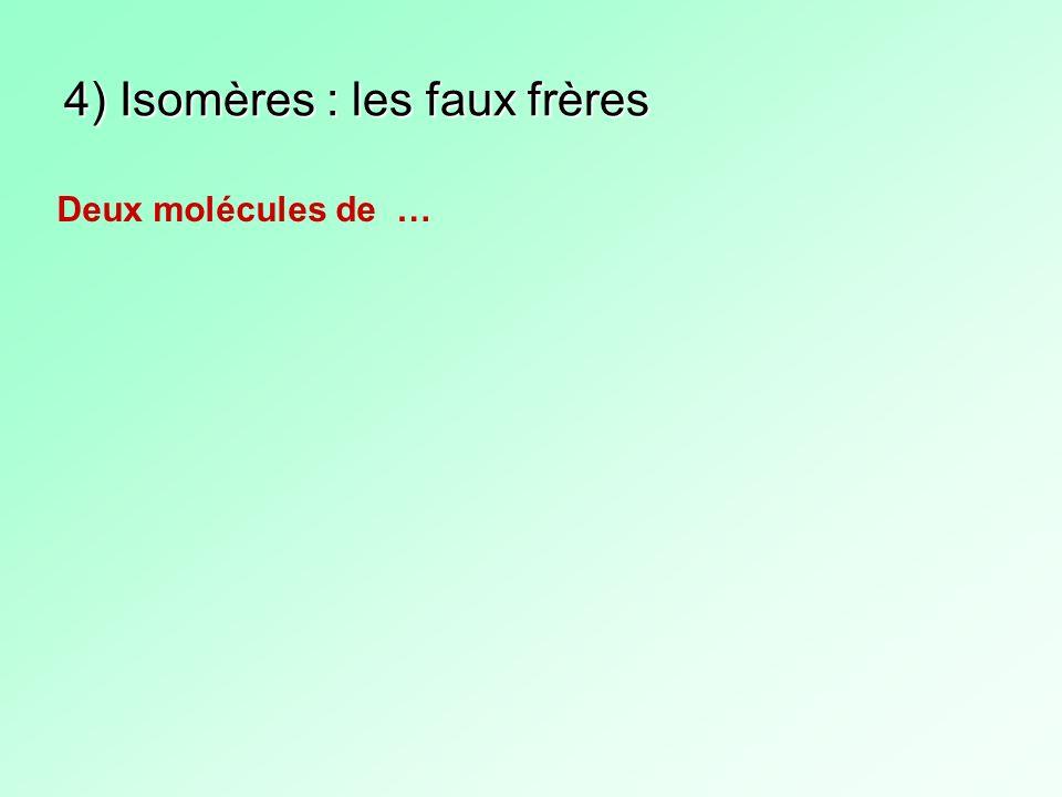 4) Isomères : les faux frères Deux molécules de …