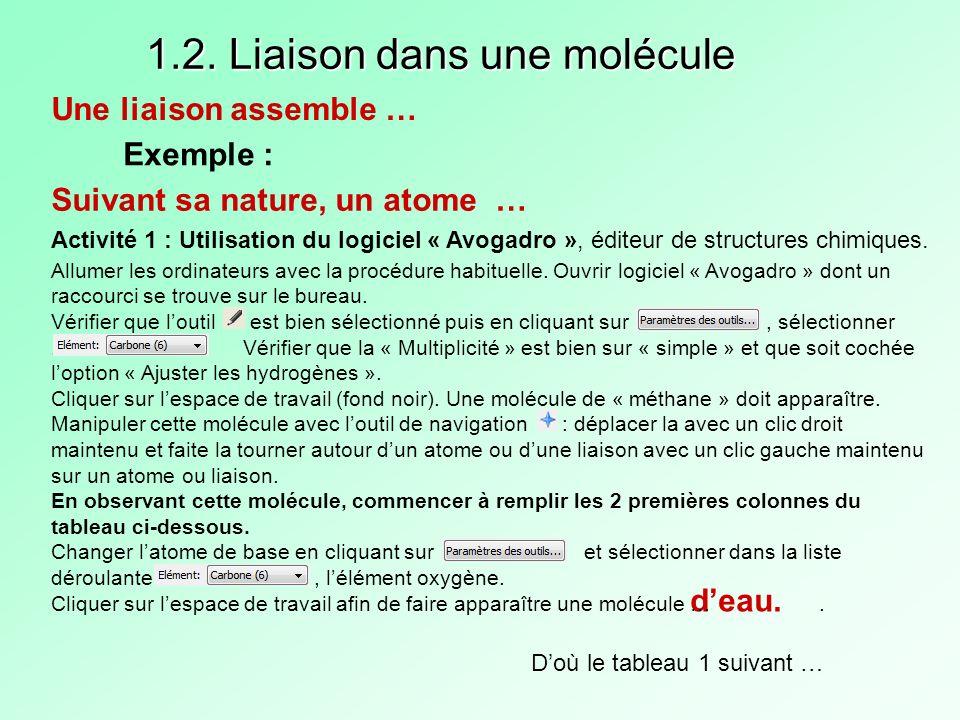 1.2. Liaison dans une molécule Une liaison assemble … Exemple : Suivant sa nature, un atome … deau. Doù le tableau 1 suivant … Allumer les ordinateurs