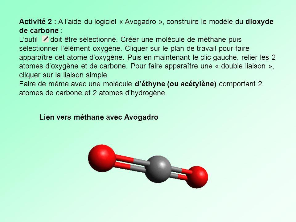 Activité 2 : A laide du logiciel « Avogadro », construire le modèle du dioxyde de carbone : Loutil doit être sélectionné. Créer une molécule de méthan