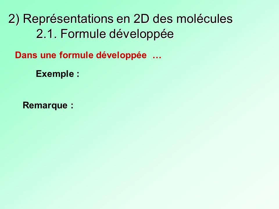 2) Représentations en 2D des molécules 2.1. Formule développée Dans une formule développée … Exemple : Remarque :