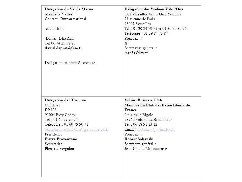 Délégation du Val de Marne Marne la Vallée Contact : Bureau national et sur site : Daniel DEPRET Tél 06 74 25 58 85 daniel.depret@free.fr Délégation e