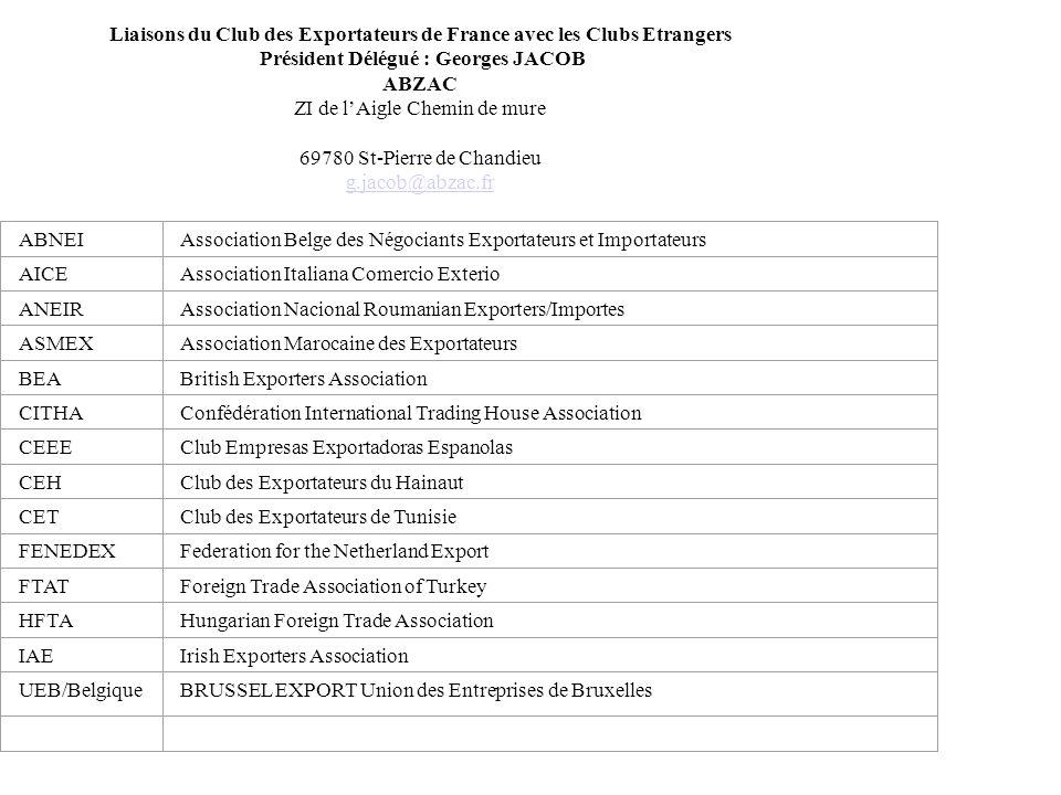 Liaisons du Club des Exportateurs de France avec les Clubs Etrangers Président Délégué : Georges JACOB ABZAC ZI de lAigle Chemin de mure 69780 St-Pier