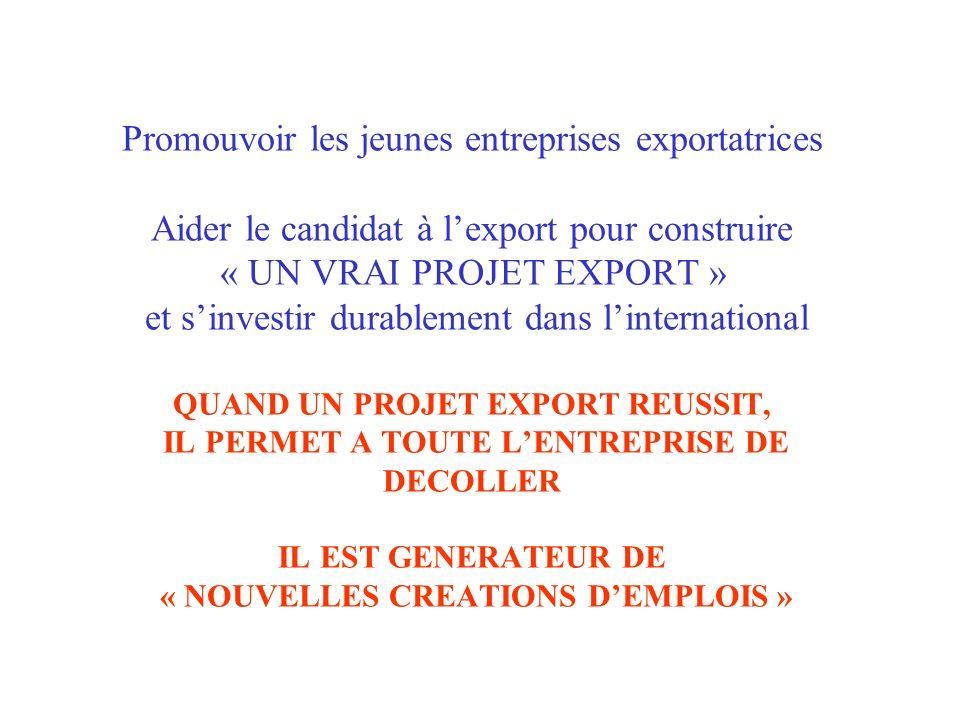 Promouvoir les jeunes entreprises exportatrices Aider le candidat à lexport pour construire « UN VRAI PROJET EXPORT » et sinvestir durablement dans li
