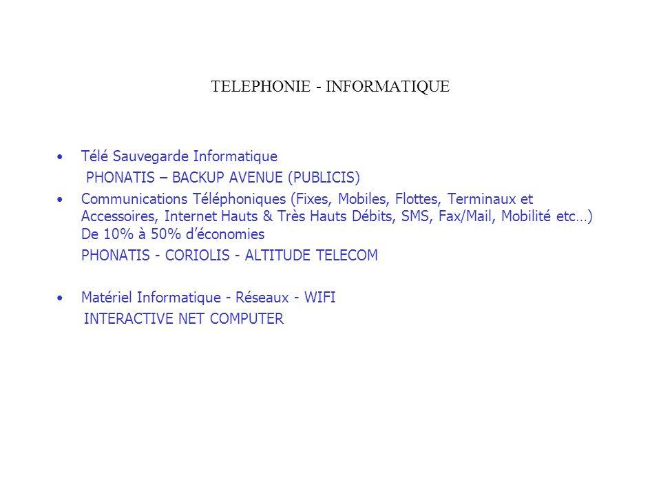 TELEPHONIE - INFORMATIQUE Télé Sauvegarde Informatique PHONATIS – BACKUP AVENUE (PUBLICIS) Communications Téléphoniques (Fixes, Mobiles, Flottes, Term