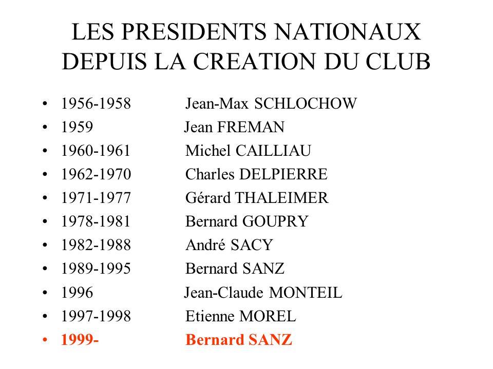 LES PRESIDENTS NATIONAUX DEPUIS LA CREATION DU CLUB 1956-1958 Jean-Max SCHLOCHOW 1959 Jean FREMAN 1960-1961 Michel CAILLIAU 1962-1970 Charles DELPIERR