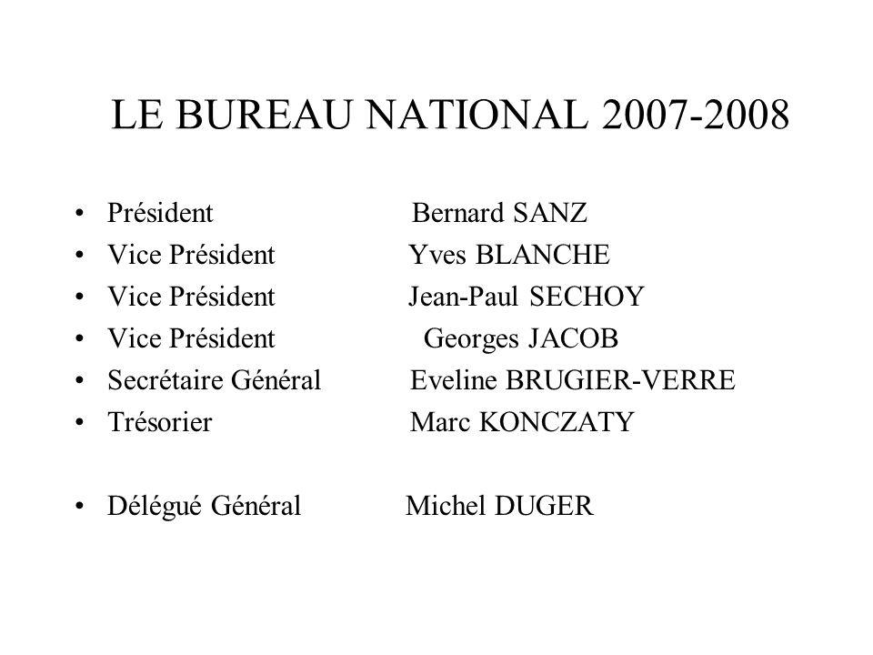 LE BUREAU NATIONAL 2007-2008 Président Bernard SANZ Vice Président Yves BLANCHE Vice Président Jean-Paul SECHOY Vice Président Georges JACOB Secrétair