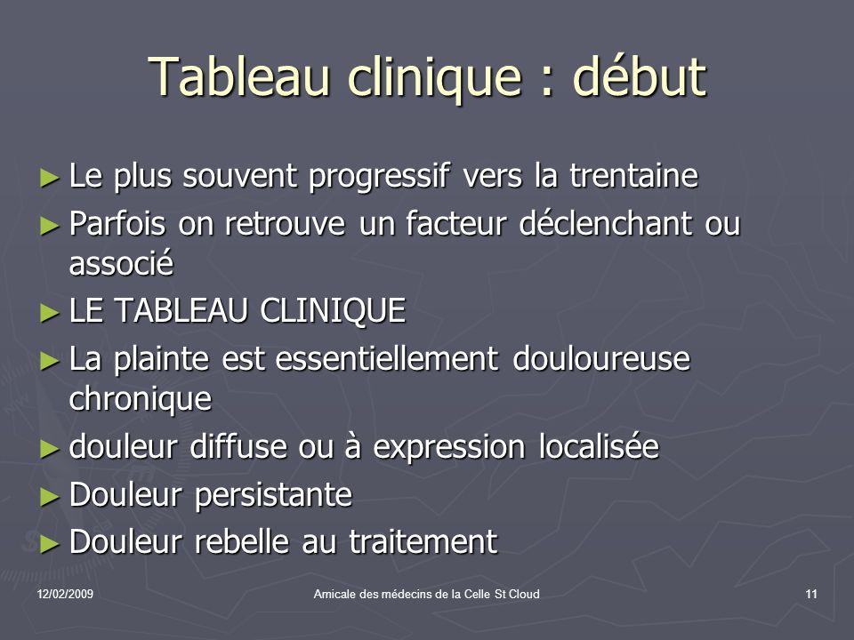12/02/2009Amicale des médecins de la Celle St Cloud11 Tableau clinique : début Le plus souvent progressif vers la trentaine Le plus souvent progressif