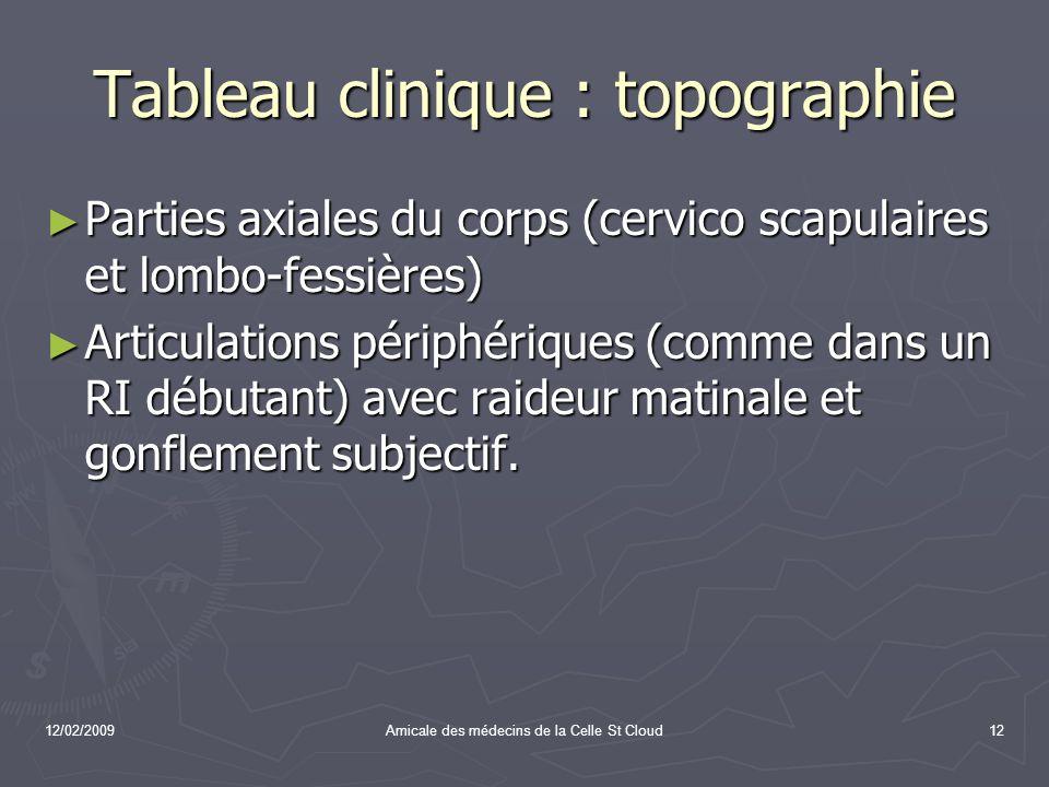 12/02/2009Amicale des médecins de la Celle St Cloud12 Tableau clinique : topographie Parties axiales du corps (cervico scapulaires et lombo-fessières)