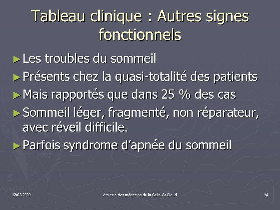 12/02/2009Amicale des médecins de la Celle St Cloud14 Tableau clinique : Autres signes fonctionnels Les troubles du sommeil Les troubles du sommeil Pr