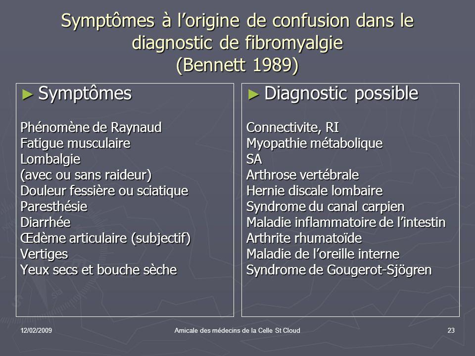 12/02/2009Amicale des médecins de la Celle St Cloud23 Symptômes à lorigine de confusion dans le diagnostic de fibromyalgie (Bennett 1989) Symptômes Sy