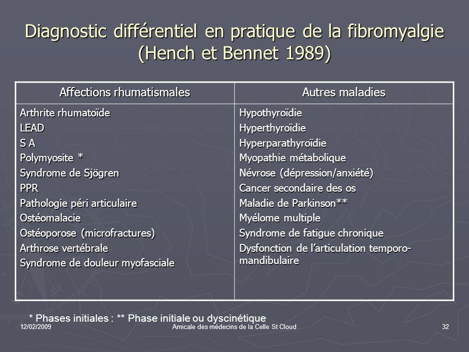 12/02/2009Amicale des médecins de la Celle St Cloud32 Diagnostic différentiel en pratique de la fibromyalgie (Hench et Bennet 1989) Affections rhumati