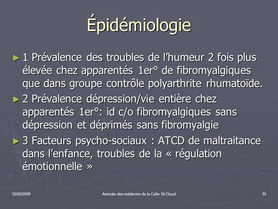12/02/2009Amicale des médecins de la Celle St Cloud35 Épidémiologie 1 Prévalence des troubles de lhumeur 2 fois plus élevée chez apparentés 1er° de fi