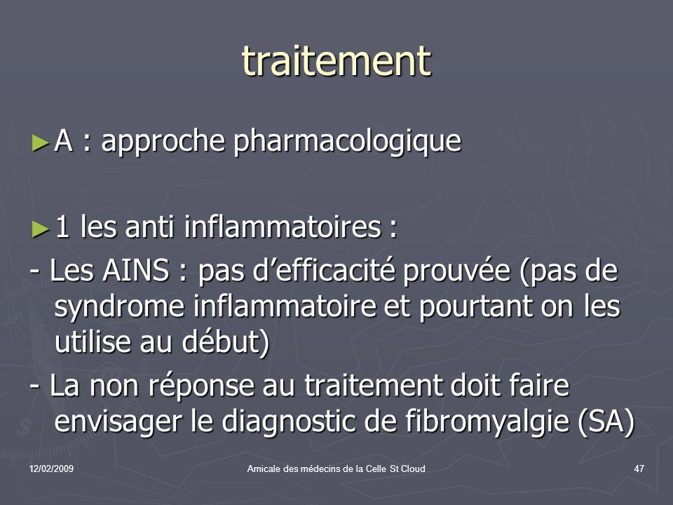 12/02/2009Amicale des médecins de la Celle St Cloud47 traitement A : approche pharmacologique A : approche pharmacologique 1 les anti inflammatoires :
