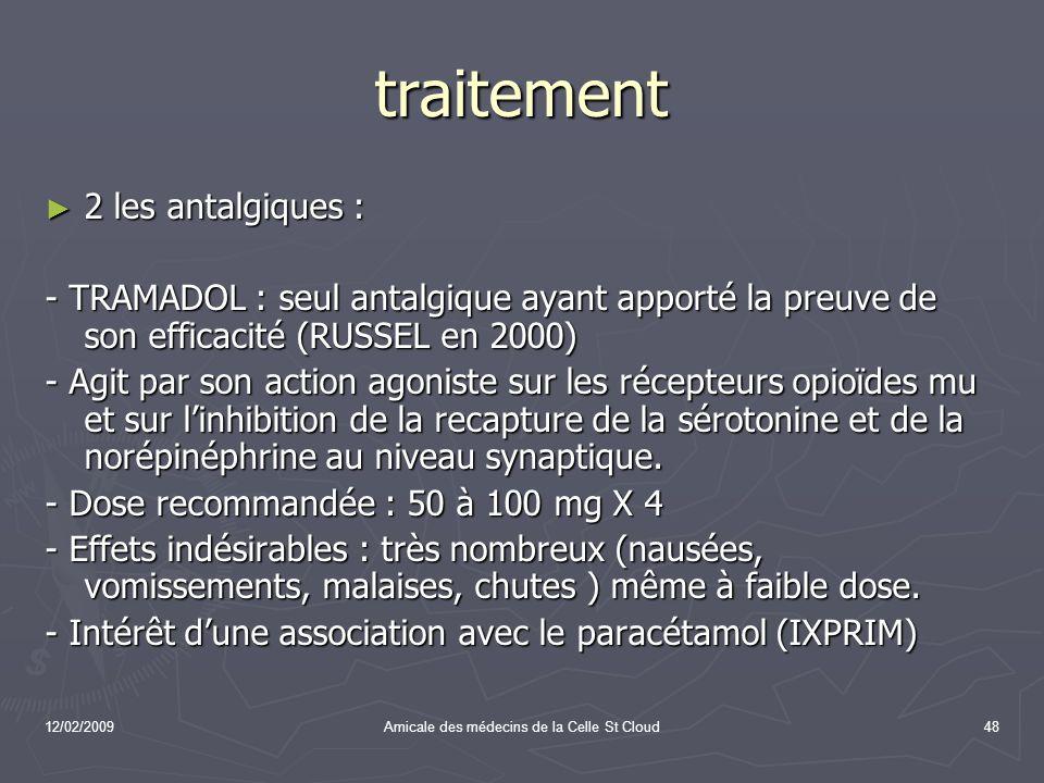 12/02/2009Amicale des médecins de la Celle St Cloud48 traitement 2 les antalgiques : 2 les antalgiques : - TRAMADOL : seul antalgique ayant apporté la