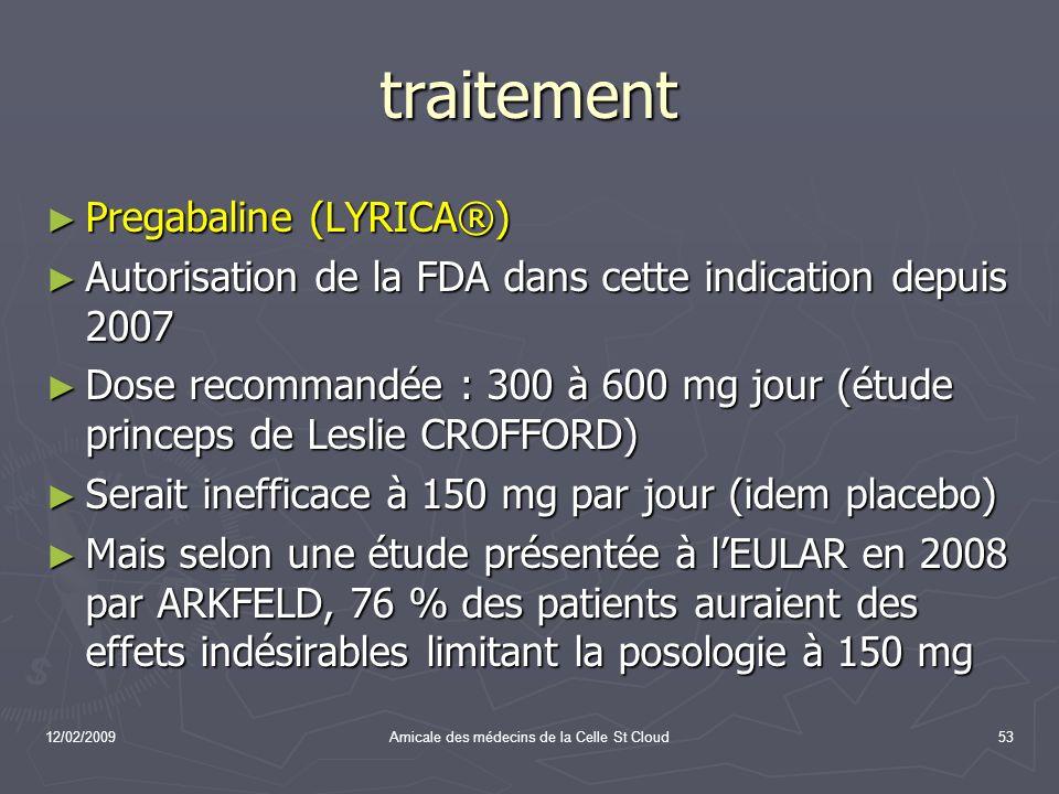 12/02/2009Amicale des médecins de la Celle St Cloud53 traitement Pregabaline (LYRICA®) Pregabaline (LYRICA®) Autorisation de la FDA dans cette indicat