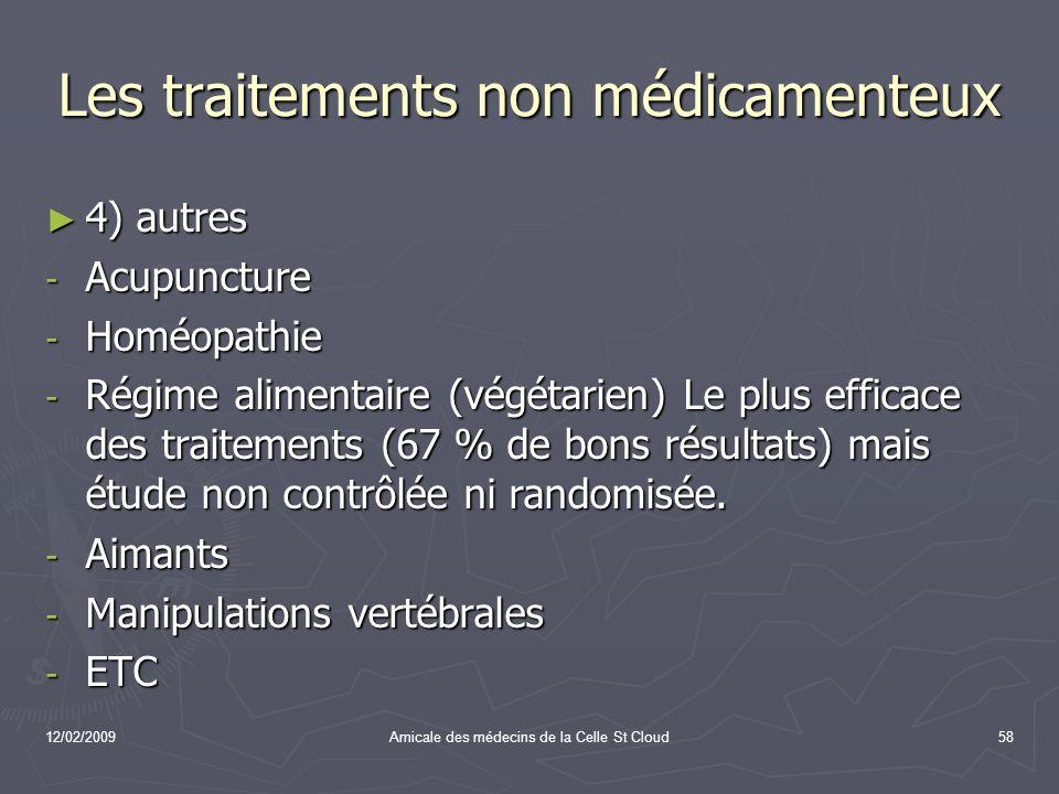 12/02/2009Amicale des médecins de la Celle St Cloud58 Les traitements non médicamenteux 4) autres 4) autres - Acupuncture - Homéopathie - Régime alime