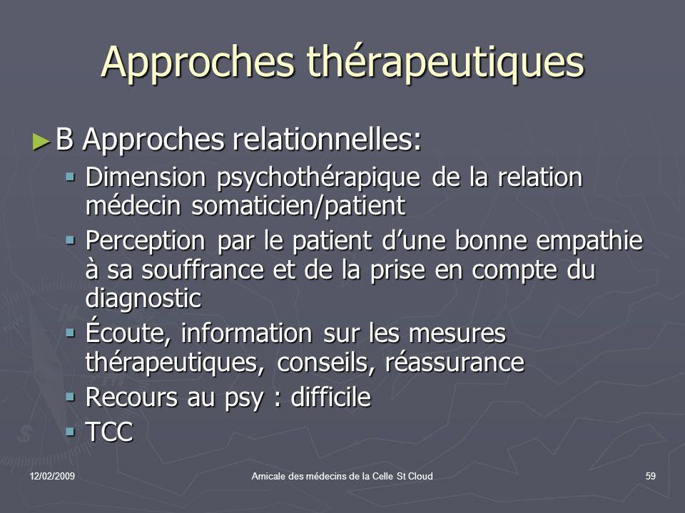 12/02/2009Amicale des médecins de la Celle St Cloud59 Approches thérapeutiques B Approches relationnelles: B Approches relationnelles: Dimension psych