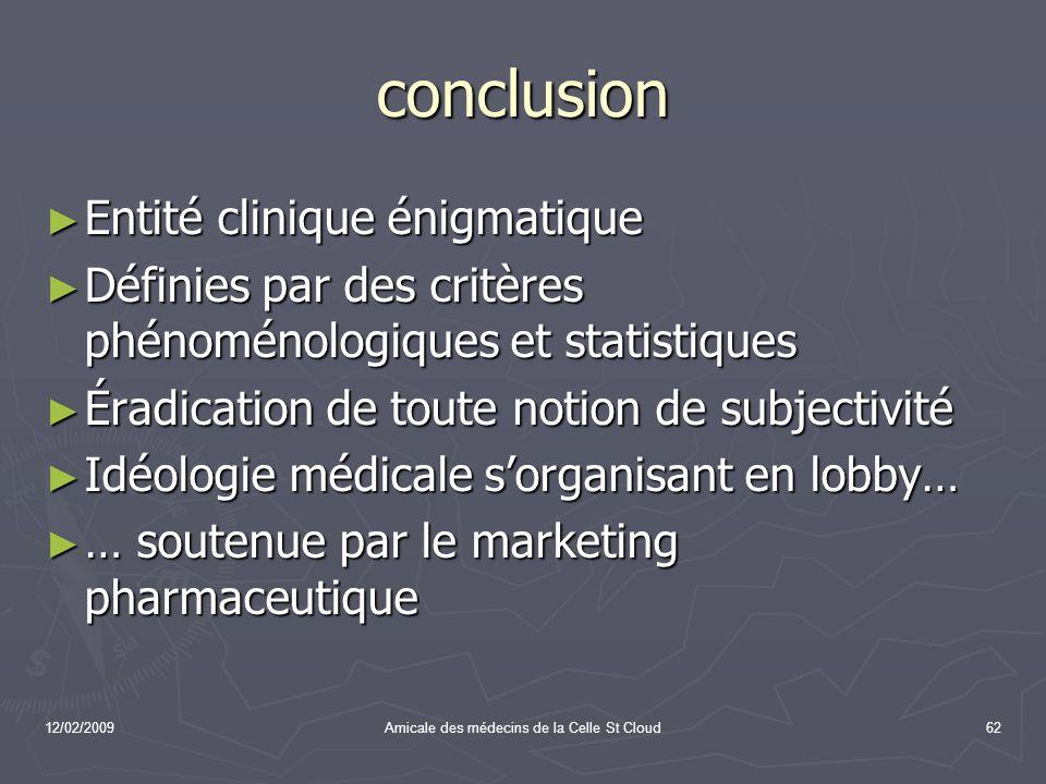 12/02/2009Amicale des médecins de la Celle St Cloud62 conclusion Entité clinique énigmatique Entité clinique énigmatique Définies par des critères phé