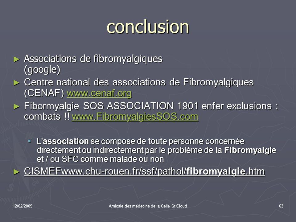 12/02/2009Amicale des médecins de la Celle St Cloud63 conclusion Associations de fibromyalgiques (google) Associations de fibromyalgiques (google) Cen