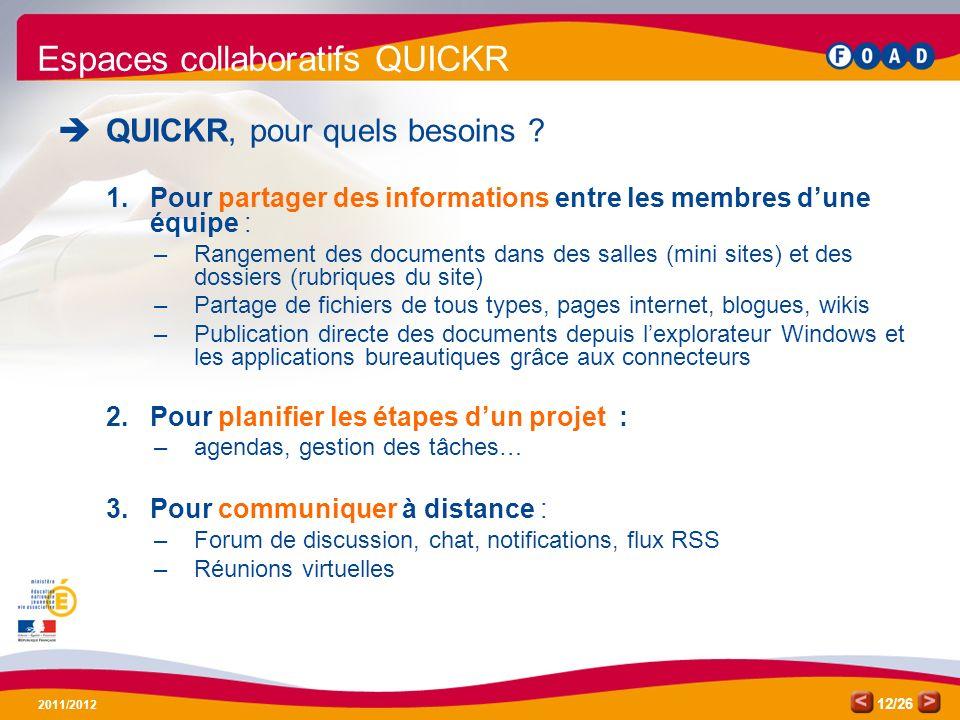 /26 2011/2012 12 Espaces collaboratifs QUICKR QUICKR, pour quels besoins ? 1.Pour partager des informations entre les membres dune équipe : –Rangement